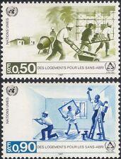 Nations Unies (G) 1987 sans-abri/Abri/Protection/bâtiments/constructeurs/travailleurs 2 V Set (n18057d)