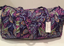 Vera Bradley Large Traveler Duffel Bag Batik Leaves Purple Pattern 24426