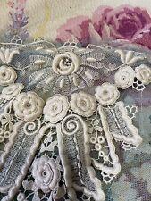 Antique Net Lace Wedding Embellishments Trim Creamy White Fine Raised 3D Roses