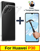 SLIM CLEAR COVER SOFT TPU GEL CASE AND TEMPERED GLASS PROTECTOR FOR HUAWEI P30