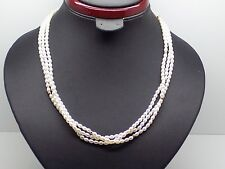 14k Cultured Rice Pearl Yellow Gold Necklace with Three strands & Ball Spacers