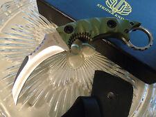 "Strider Combat Karambit Dagger Knife 5mm Full Tang D2 OD G10 7.1"" Leather Sheath"