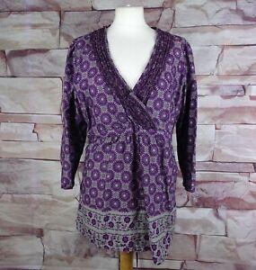 MANTARAY purple patterned cotton top size 18