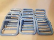 "Lot of 20 Square 4"" Four Inch Light Blue Plastic Marbella Macrame Craft Rings"