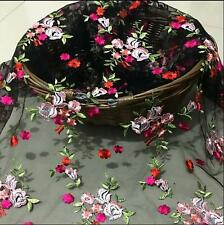 1 Yard Lace Fabric Black Tulle Red Floral Embroidered Evening Dress Sewing 51""