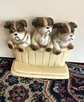 Vintage Cast Iron Doorstep- 3 English Terrier Puppies - By John Wright