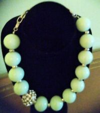 Mint Green Large Bead Necklace with Rhinestones J. Crew inspired Adjustable