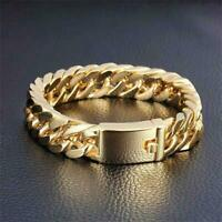 Fashion Bracelet Gold Color Hip Hop Link Chain Cuban Bracelet Stainless Steel