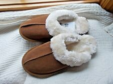 2ffac78369c MOSSIMO GENUINE SUEDE SLIPPERS SIZE 10 CHESTNUT COLOR FLEECE LINED DURABLE  SOLE