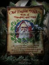 Primitive Christmas Santa Claus St Nick Naughty Nice List Journal Cupboard Tuck