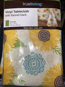 Rectangle SUNFLOWER 52x90 Vinyl Flannel Back Tablecloth Summer Farmhouse Country