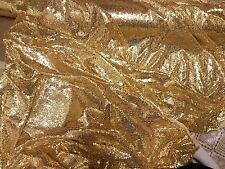 """3M Gold TULE  FULLY  SEQUINED  SMALL SEQUIN BRIDLE DRESS FABRIC 58"""" WIDE"""