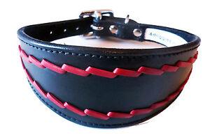 Black Oval Stitch Leather Whippet Dog Collar Greyhound Dog Collar Dog Collars