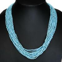 """25"""" HANDMADE 20 STRANDS LONG TURQUOISE GLASS SEED BEADS necklace"""