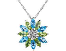7. Ct Topázio Azul Pingente Flor & Peridoto Com Diamantes Em Prata Esterlina