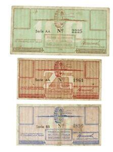 Netherlands - 10/25/100 Cent Banknotes (3) - 'Kamp Westerbork' - 1944 - F