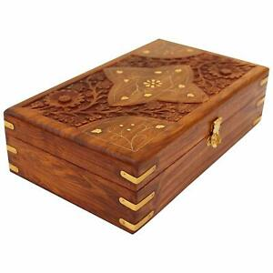 Handcrafted Wooden Jewellery Box for Women Jewel Organizer Hand Carved Carvings
