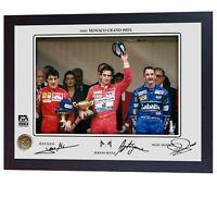 Ayrton Senna Jean Alesi Nigel Mansell signed photo print Formula 1 Framed