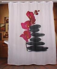 Zen Spa orchidée fleur avec pierres empilées Pebble Rideau de douche Polyester