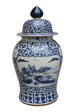 "Beautiful Large Blue and White Porcelain Rose Medallion Style Temple Jar 30"""