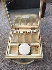 Vintage Beauty Box Travel Vanity Case With Bottles compartment Jars Mirror