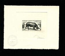 Cameroun 1964 Fauna Rhinoceros Airmail Scott C51 Signed Sunken Die Artist Proof