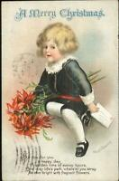 Christmas - Little Boy Holding Letter c1910 Ellen Clapsaddle Postcard
