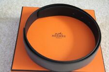 100% Authentic Hermes Black/Grey Epsom&Swift Leather Belt 32 MM - size 85