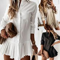Women Casual Long Sleeve Top T Shirt Button Down Blouse Pleated Mini Shirt Dress