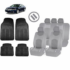 ALL GRAY HONEYCOMB SEAT COVERS AIRBAG READY SPLIT BENCH MATS FOR CARS 1544