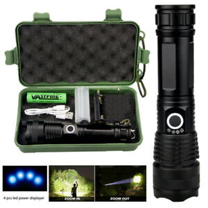 Tactical Zoomable XHP50LED USB Rechargeable Flashlight Torch 5 Modes Hiking Lamp