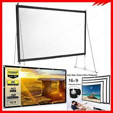 100-150'' Foldable Projector Screen 16:9 HD Anti-Crease Home 3D Cinema Theater