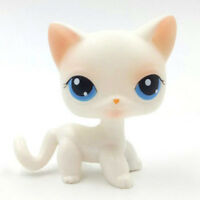 Littlest Pet Shop toys white LPS cat #64 rare short hair Kitty with blue eyes