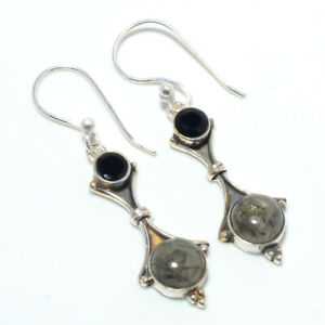 "Black Rutilated Quartz & Black Onyx 925 Sterling Silver Earring 1.76"" F2655"
