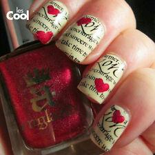 Día de San Valentín Decoración Nail ART WATER DECALS PEGATINAS Corazones Amor Esmalte En Gel 1294