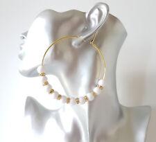 Gorgeous large 8cm gold tone - white bead & diamante big hoop earrings