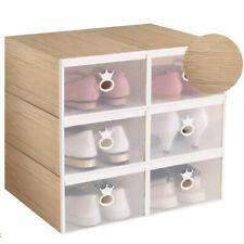 12 Pcs Pack Shoe Box Storage Plastic Clear Transparent Drawer Wardrobe Organiser