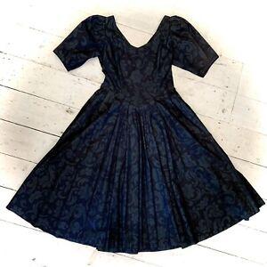 Vintage Retro Laura Ashley 1980's Bustle Back Black Evening Dress Size 10