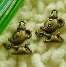Free Ship 270 pcs  Antique bronze mouse charms 20x17mm #2119