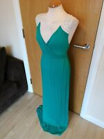Ladies NEXT Dress Size 16 Green Long Maxi Stretch White Lace Back