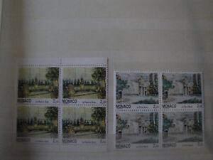 2 blocs de 4 timbres de monaco n° 1832 et 1833