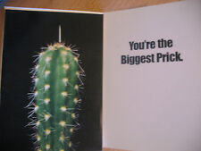 "Funny Comedy Humor Rude Adult Greeting Card  ""You're The Biggest Prick"" Cactus"