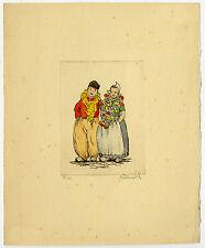 Print-DUTCH COSTUME-TRADITIONAL-GARLAND-COUPLE-Smit (?)-ca. 1950
