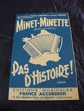Partition Minet Minette Pas history of M. Chevrot and L. Thomas valse 1959
