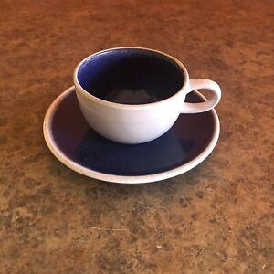 PAIR Vintage Heath Pottery Stoneware Coupe Line Opal Blue Coffee Cup Mug Saucer