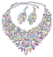 Choker Necklace Earring Pageant Drag Prom AB Rhinestone Austrian Crystal