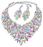 Choker Necklace Earring Pageant Drag Prom AB Rhinestone Austrian Crystal