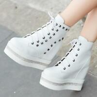 Women Hidden Heel Wedge Platform Ankle Boots Lace Up Punk Gothic Martin Boots Sz