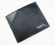 New Guess Monterey Black Leather Passcase Credit Card ID Billfold Men's Wallet