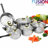 Cookware Set Stainless Steel Pots Pans Glass Lids Home Kitchen New 12 Piece
